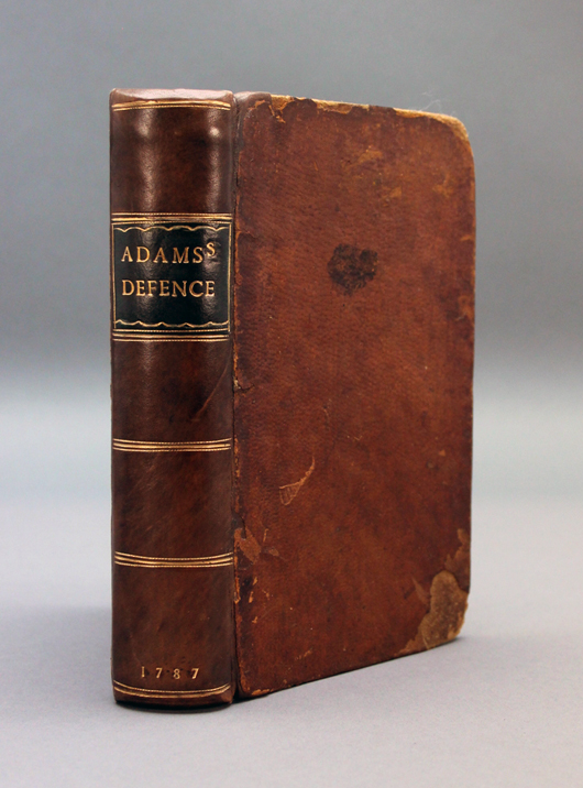 US first edition of John Adams' 1787 book 'A Defence (sic) of the Constitutions of Government of the United States,' est. $1,500-$2,000. Waverly Rare Books image.