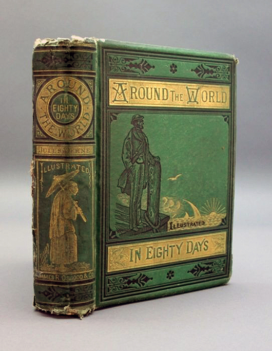 An 1873 US first edition of Jules Verne's classic novel 'Around the World in Eighty Days,' est. $2,000-$2,500. Waverly Rare Books image.