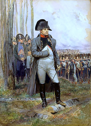 Napoleon wears a large bicorne hat in this portrait by Édouard Detaille (French. 1848-1912). Image courtesy of Wikimedia Commons.