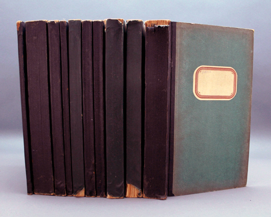 Ten volumes representing 10 cases of official trial transcripts from post-World War II Nuremburg trials, est. $500-$800. Waverly Rare Books image.