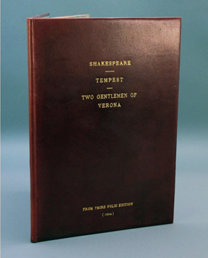 Red leather-bound volume, 'Mr. William Shakespeare's Comedies, Histories and Tragedies,' 1664, est. $4,000-$6,000. Waverly Rare Books image.