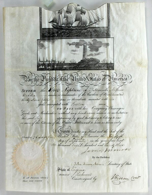 Ship's passport from 1823 containing signatures of then-President James Monroe and future President John Quincy Adams, est. $800-$1,200. Waverly Rare Books image.