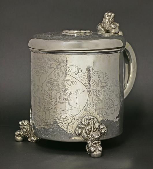 Ceremonial silver tankard from Norway. Sworders Fine Art Auctioneers image.