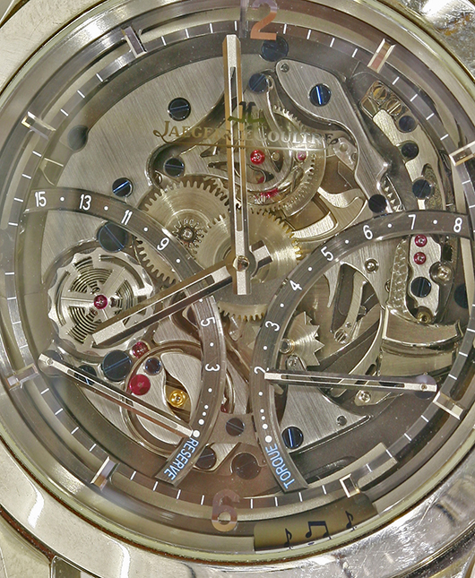 Detail of the Jaeger-LeCoultre Master Minute Repeater watch. Estimate: £30,000 and £40,000 ($47,000-$62,660). Sworders Fine Art Auctioneers image.
