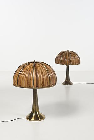 Gabriella Crespi, 'Fungo' dalla serie 'Rising Sun', lampada, 1974, bambu e ottone, 84 × 61 cm, stima €5.000-7.000, Courtesy Piasa, Paris
