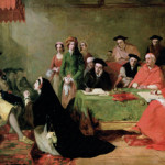 Catherine of Aragon pleads her case against divorce from Henry VIII. Painting by Henry Nelson O'Neil. Image courtesy of Wikimedia Commons.