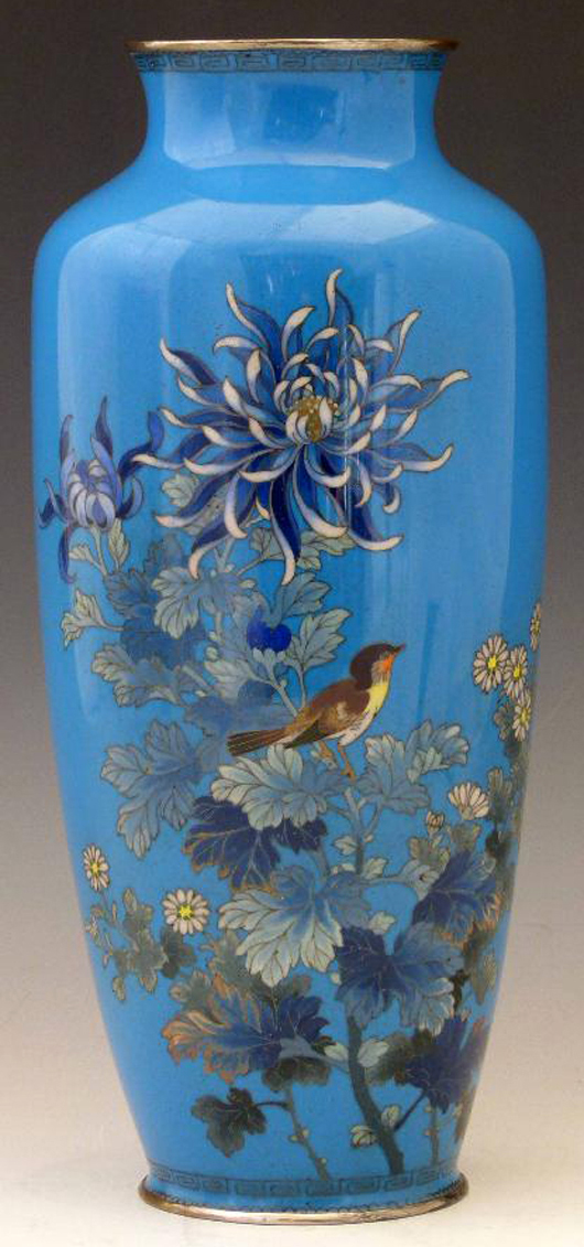 A Japanese cloisonné vase, the turquoise ground decorated with a bird among flowers and foliage, estimate £130-180. Photo: Peter Wilson
