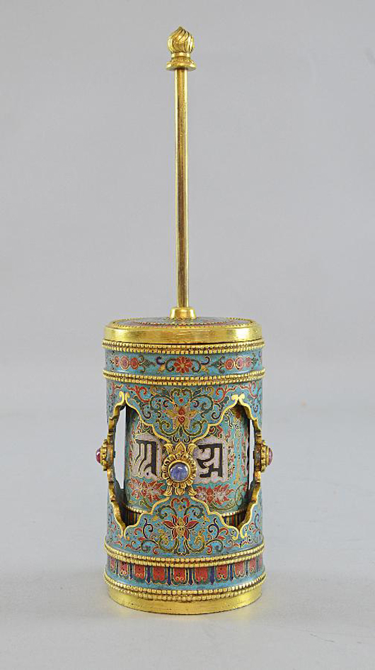 A rare 18th century cloisonné prayer wheel sold for £135,000. Photo: Ewbank's auctioneers