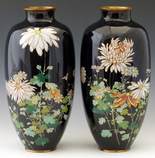 A pair of 19th century Japanese cloisonné, the deep blue ground decorated with flowers, in a sale at Peter Wilson auctioneers, Nantwich on Nov. 26-27, estimate £150-250. Photo: Peter Wilson