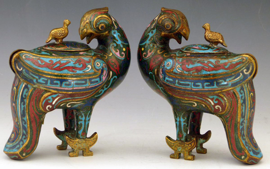 A pair of Chinese cloisonné mythical bird vessels or censers each with lidded back, estimate £500-600. Photo: Peter Wilson