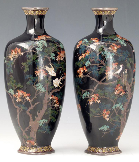 A pair Japanese vases cloisonné vases, the blue ground decorated with birds in a maple tree, estimate £140-180. Photo: Peter Wilson