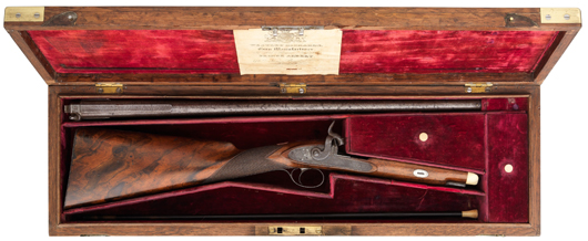 Cased small percussion shotgun by Westley Richards of London and Birmingham, gunmaker To H.R.H. Prince Albert, made for H.R.H. The Prince Alfred, circa 1850, 33 1/4 inches overall. Estimate: £5,000-7,000. Thomas Del Mar Ltd. image