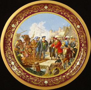 Monumental Royal Vienna porcelain plaque depicting Christopher Columbus. Kodner Galleries image