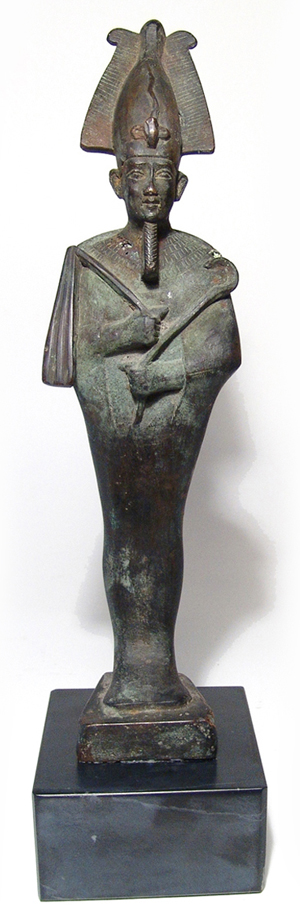 Cast-bronze statue of Osiris, 10in, retains early 1900s sales tag from Blanchard's Egyptian Museum in Cairo, est. $10,000-$15,000. Ancient Resource image