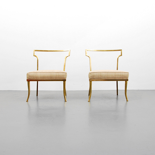 One of two pairs of Billy Haines slipper chairs to be auctioned in consecutive lots, design inspired by Ancient Greek klismos chairs. Estimate for pair: $4,000-$6,000. PBMA image