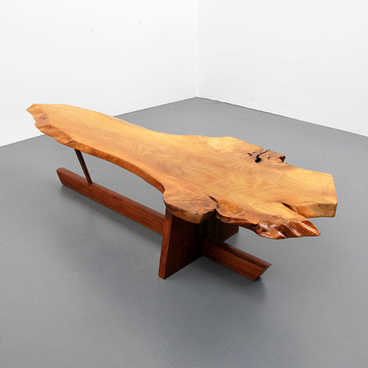George Nakashima walnut and rosewood Minguren I coffee table, est. $25,000-$35,000. PBMA image