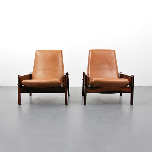 """Pair of Sergio Rodrigues leather and chrome-plated steel """"Vronka"""" lounge chairs, originally in Rio de Janeiro residence, then a Palm Beach private collection. Est. $12,000-$15,000. PBMA image"""