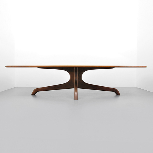 Sam Maloof conference/dining table, South American rosewood, 119in wide, formerly in Tampa, Florida private collection. Est. $50,000-$70,000. PBMA image