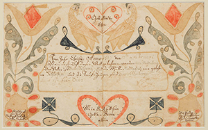 Wythe County, Va., folk art watercolor and ink on paper fraktur birth and baptismal record, circa 1819, attributed to the Wild Turkey artist. Price realized: $27,600. Jeffrey S. Evans & Associates image
