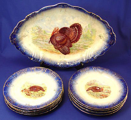 Wheeling Pottery 'La Belle' flow blue turkey platter and 12 plates, circa 1893-1910. Sold for $1,150 at Burchard Galleries' Jan 22, 2006 auction. Image courtesy of LiveAuctioneers Archive and Burchard Galleries.
