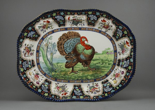 Large (18 x 23in) Copeland Spode flow blue turkey platter with hand-colored decoration, English, sold for $989 on Feb. 7, 2010 at Myers Fine Art. Image courtesy of LiveAuctioneers Archive and Myers Fine Art