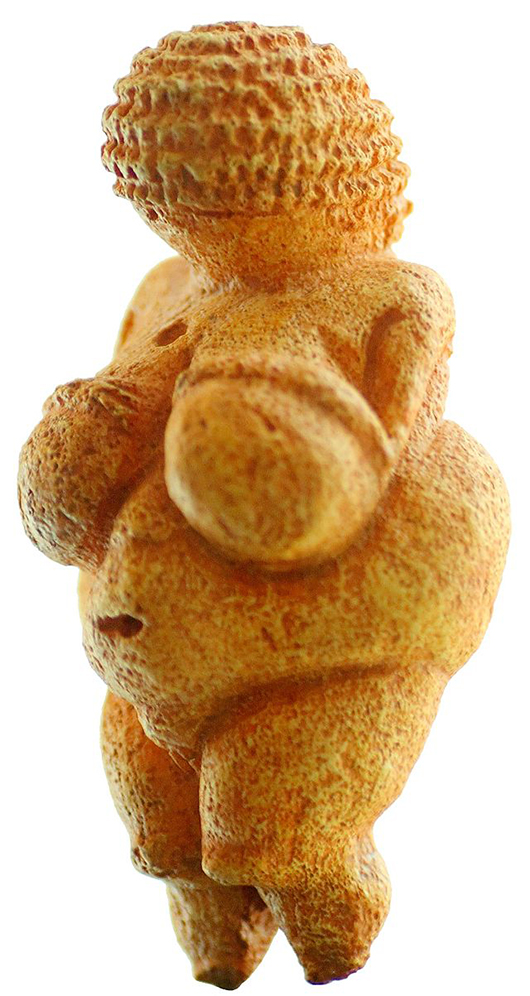 The similar Venus of Willendorf is a 4.4 inch statuette of a female figure estimated to have been made between about 28,000 and 25,000 B.C. It was found in 1908 at a paleolithic site near Willendorf, Austria. The oolitic limestone figure is now in the Naturhistorisches Museum in Vienna.  Image by Matthias Kabel. This file is licensed under the Creative Commons Attribution 2.5 Generic license.