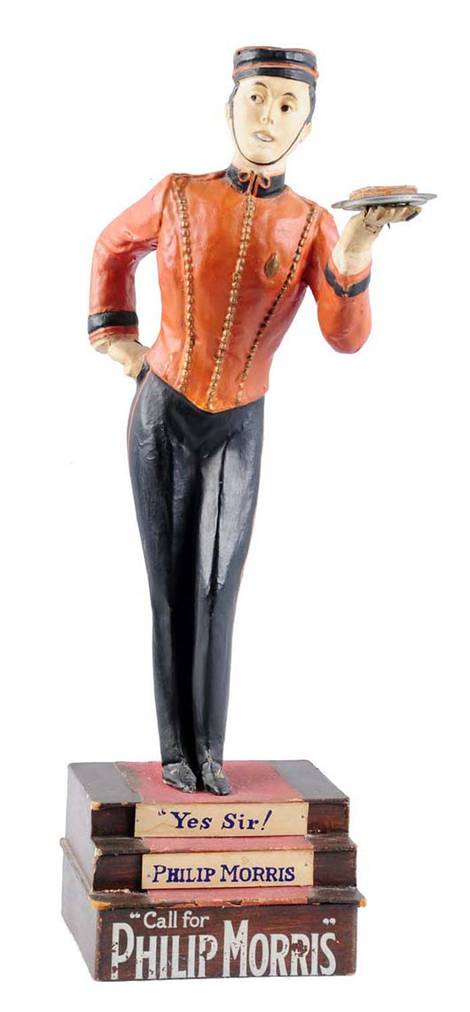 Philip Morris papier-mache display figure, 19 inches tall, VG+ condition, est. $6,000-$8,000. Morphy Auctions image