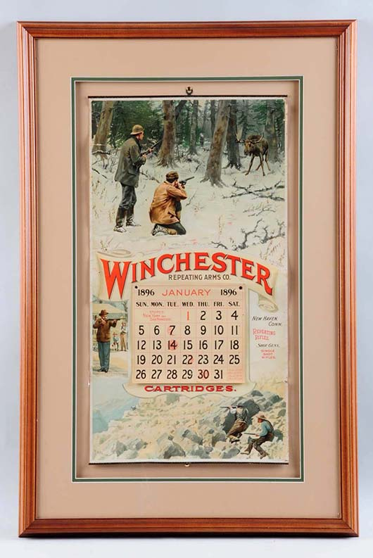1896 Winchester Cartridges calendar, large format, 36½ x 23½ inches, est. $4,000-$5,000. Morphy Auctions image