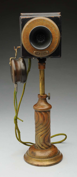 American Bell No. 2 speaking tube desk set with swirl base, earliest original Bell desk stand known to exist in a private collection, est. $30,000-$40,000. Morphy Auctions image