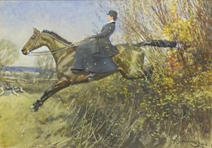 Sir Alfred James Munnings (1878-1959), 'A Lady on a Hunter Jumping a Hedge,' signed and dated 1906 l.r., watercolor and bodycolor, 27 x 36cm. Estimate: £20,000-£30,000. Sworders image