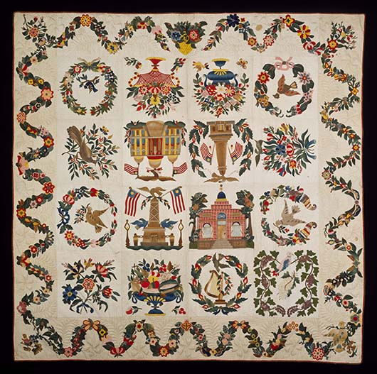 Baltimore Album quilts present the most complex overall designs found on 19th century quilted bedcoverings. A gift of collectors Foster and Muriel McCarl to the Williamburg museums, this circa 1850 example features 16 distinct block patterns including well-known local monuments and the U.S. Capitol in Washington. Image courtesy Colonial Williamsburg