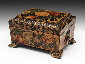 A rare penwork sewing box with painted flowers, complete with original contents including mother of pearl painted spools, circa 1815. Price: £2,350 ($3,688). Photo: Hampton Antiques