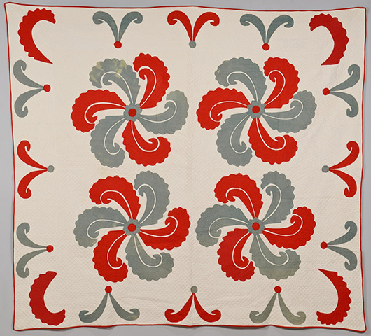 Collectors often pay a premium for quilts with regional roots. This bold Princess Feather appliqué from Eastern Tennessee brought $1,180 last summer at a Case Auction in Knoxville, Tenn. Image courtesy Case Antiques