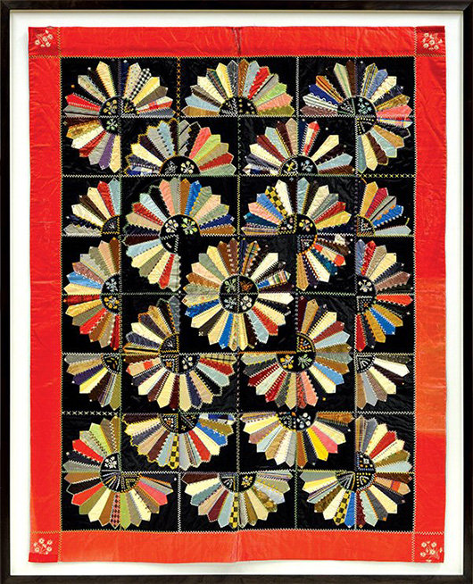 This vivid silk crazy quilt, circa 1880, is decorated with radiating fans embroidered with flowers. Once in the well-known Margaret Cavigga Collection, the textile achieved a hammer price of $1,600 at Clars Auction Gallery in early 2013. Image courtesy Clars Auction Gallery