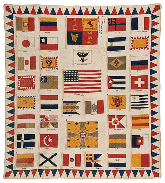 Signed by the maker in Bloomfield, Iowa, and dated 1898, this pieced and embroidered cotton quilt commemorating the Spanish-American War is decorated with flags of many nations. The historic textile sold for $9,400 at Cowan's Auctions in Cincinnati four years ago. Image courtesy Cowan's Auctions Inc.