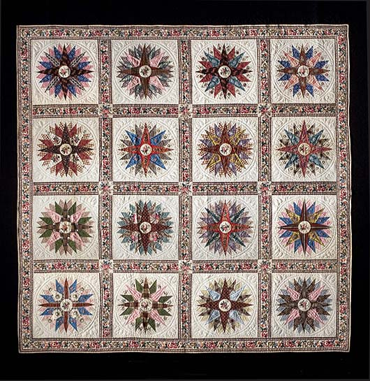'Four Centuries of Quilts,' the new catalog of the Colonial Williamsburg collection, devotes a separate chapter to the Mariner's Compass design, particularly popular from 1825 to 1875.  This neatly pieced example with sixteen panels was made mid-century in New York City by Mary Wright Williams, an immigrant from Ireland. Image courtesy Colonial Williamsburg