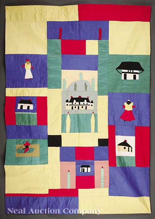 In 2012, the Neal Auction Company in New Orleans sold this stitched and appliqued quilt made in 1955 by legendary Louisiana folk artist Clementine Hunter (1886-1988) for $10,158. In addition to vignettes of daily life, the panels depict the main house and outbuildings of Melrose Plantation. Image courtesy Neal Auction Co.