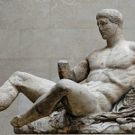 Reclining Dionysos sculpture from the Parthenon's east pediment, circa 447–433 B.C. Image by Jastrow. This file is licensed under the Creative Commons Attribution 2.5 Generic license.