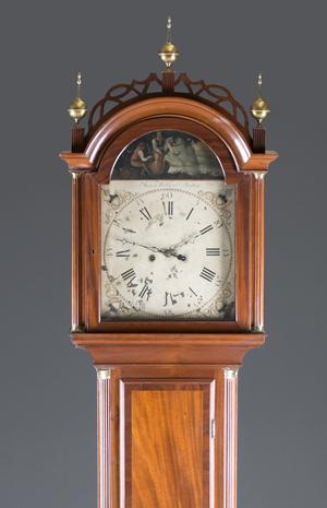 Circa-1800 Aaron Willard tall-case clock, est. $3,000-$5,000. Quinn & Farmer image