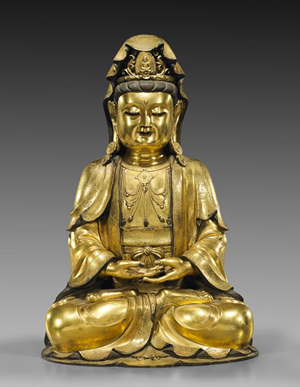 Large Chinese Ming-style gilt bronze Guanyin, 22in. I.M Chait Gallery / Auctioneers image