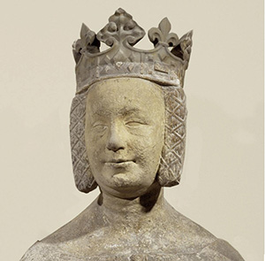 A close-up view of a statue of Jeanne de Bourbon, Queen consort of Charles V of France, at the Louvre in Paris. Image by Kaho Mitsuki. This file is licensed under the Creative Commons Attribution-Share Alike 3.0 Unported license.