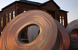 A sculpture greets visitors outside the Clarinda Carnegie Art Museum. Image courtesy of Clarinda Carnegie Art Museum