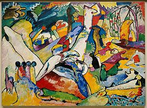 "Vasily Kandinsky (b. 1866, Moscow; d. 1944, Neuilly-sur-Seine, France) 'Sketch for ""Composition II' (Skizze für 'Komposition II'), 1909–10, oil on canvas, 38 3/8 x 51 5/8 inches (97.5 c 131.2 cm), Solomon R. Guggenheim Museum, New York, Solomon R. Guggenheim Founding Collection 45.961"