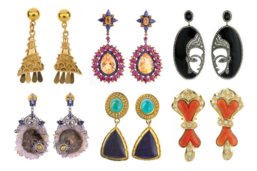 Earrings, or ear pendants. Image courtesy of LiveAuctioneers.com archive