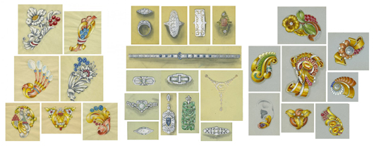 Jewelry designs, 1920-1950, sketches and gouaches on cards or celluloid. Image courtesy of LiveAuctioneers.com archive