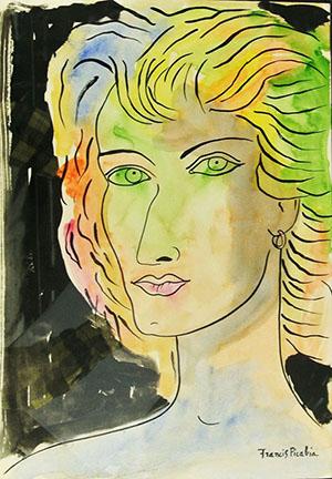 Francis Picabia (French, 1879-1953), watercolor portrait of woman, est. $35,000-$45,000. Don Presley Auction image