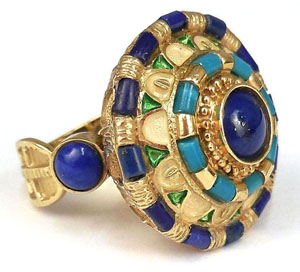 22K gold ring with lapis lazuli and turquoise stones, possibly Egyptian, 15.3 grams. Est. $400-$600. Stephenson's Auctioneers image