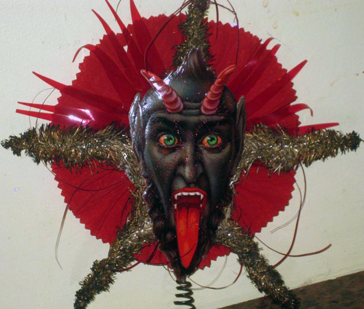 Compared to Belsnickle, Krampus is a really scary character. Here a decorative Krampus mask from the collection of Bill Steely, Westchester County, NY. Photo courtesy Bill Steely.
