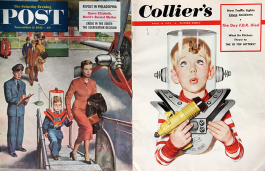 Covers of leading magazines featured the toy space helmet designed by Dinhofer. Photo by the author