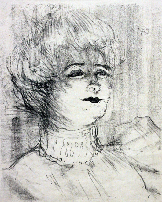 Lithograph by Toulouse Lautrec. Image courtesy of the Nicolaysen Art Museum.